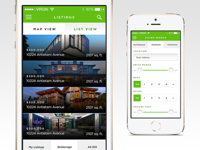 Listview and Filters ux ui mobile ios app context green real estate proxima filter