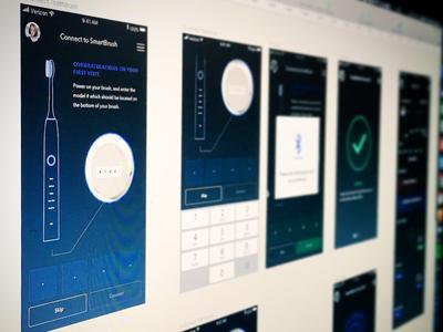 Mobile Smartbrush Onboarding smart device service design product design avenir dental mobile ui ux