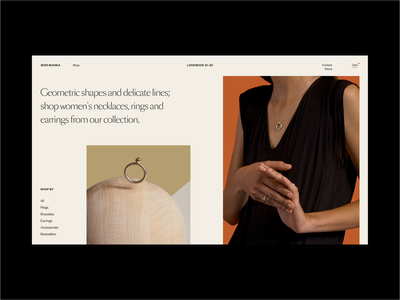BoriBianka I - Online Shop photography fashion shop ecommerce jewelry jewellery figma branding typography styletile website web concept exploration design ui art direction