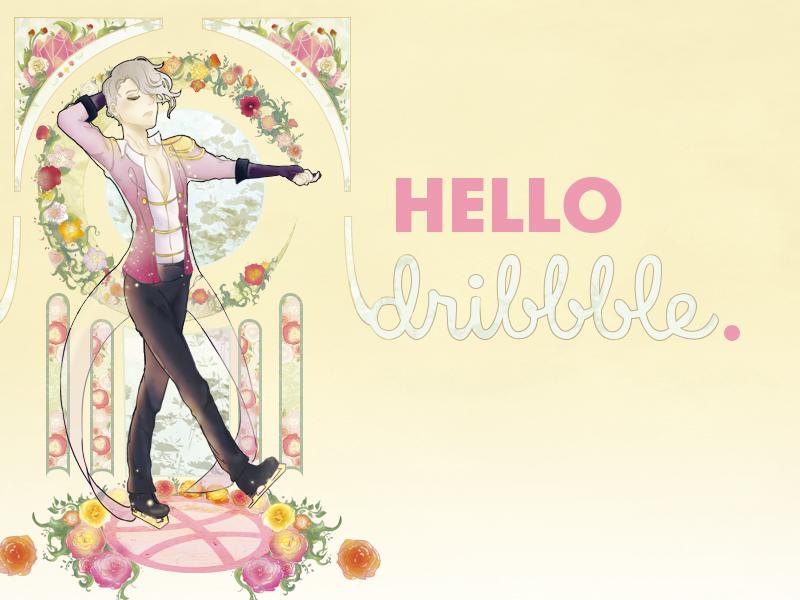 Hello dribbble !  new art art nouveau ice skate hello drawing shot first dribbble illustration ice yuuri