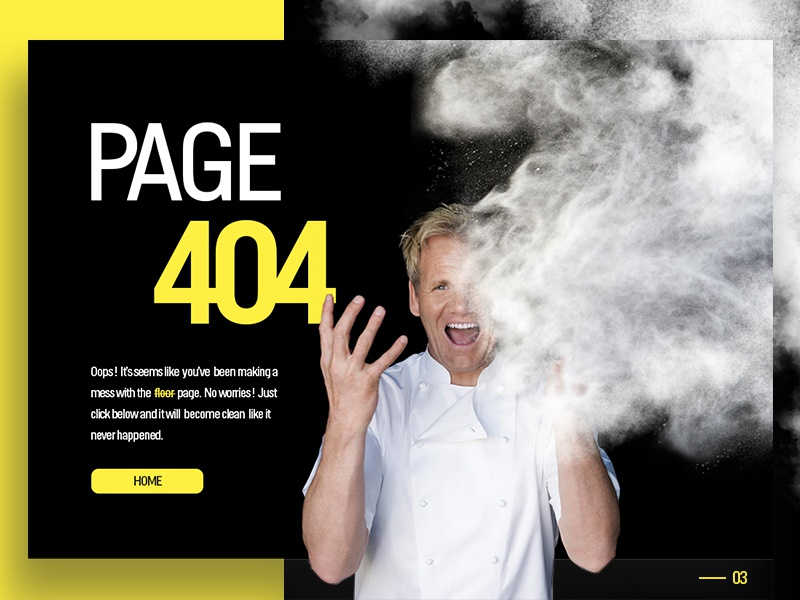Daily UI #3 : 404 page for a cooking show flour hour 1 page» «error 404 ui daily nightmare kitchen ramsay