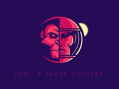 2001: A Space Odyssey 2001: a space odyssey vector monkey astronaut space logo 2d logo dribbble typography creative design creative albania jetmir lubonja illustration design