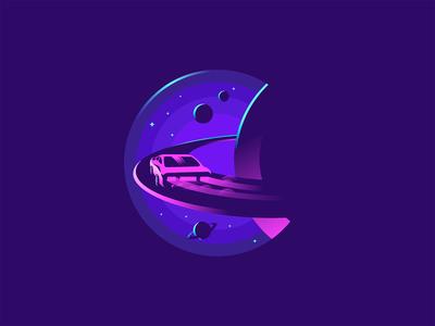 Space highway planet stars illustraion logo highway car space creative design dribbble vector illustration creative design jetmir lubonja albania