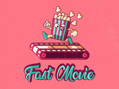 Fast Movie funny illustration illustrator movie popcorn dribbble logo creative vector art cinema vintage funny comic jetmir lubonja albania
