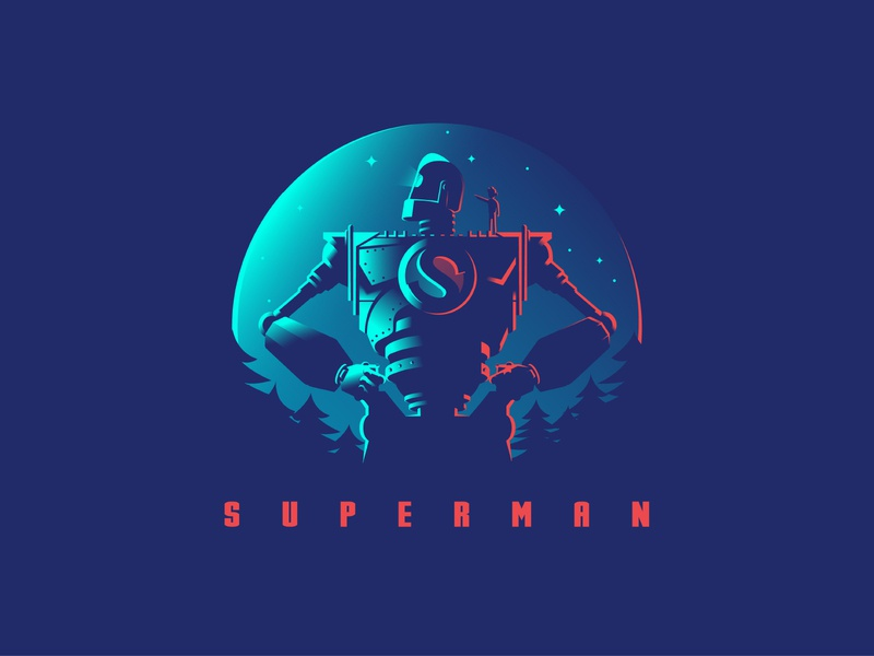 the iron giant negative space light alien superman iron giant robot logo 2d dribbble vector logo creative design illustration creative design albania jetmir lubonja