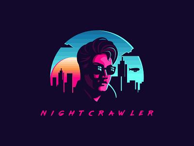 Nightcrawler jetmir lubonja albania neon synthwave nightcrawler dribbble vector logo creative design illustration design creative