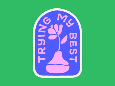 Trying my best flower vase rose badge typography lettering procreate illustration