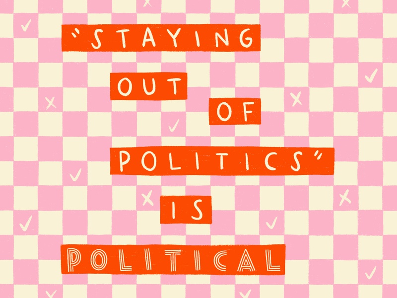 A Political Post politics checkered typography lettering procreate illustration