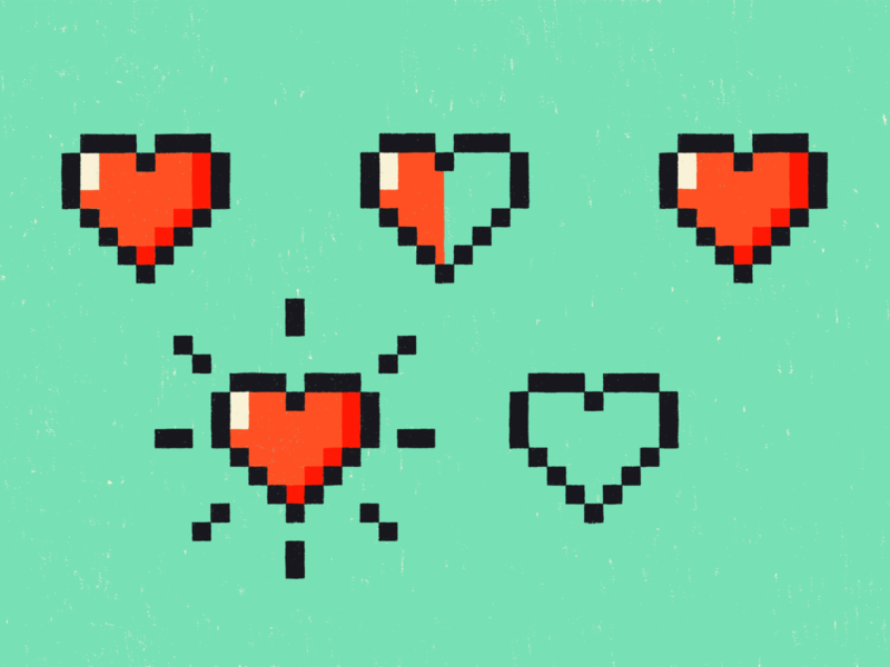 Hearts blog life hearts 8bit procreate illustration