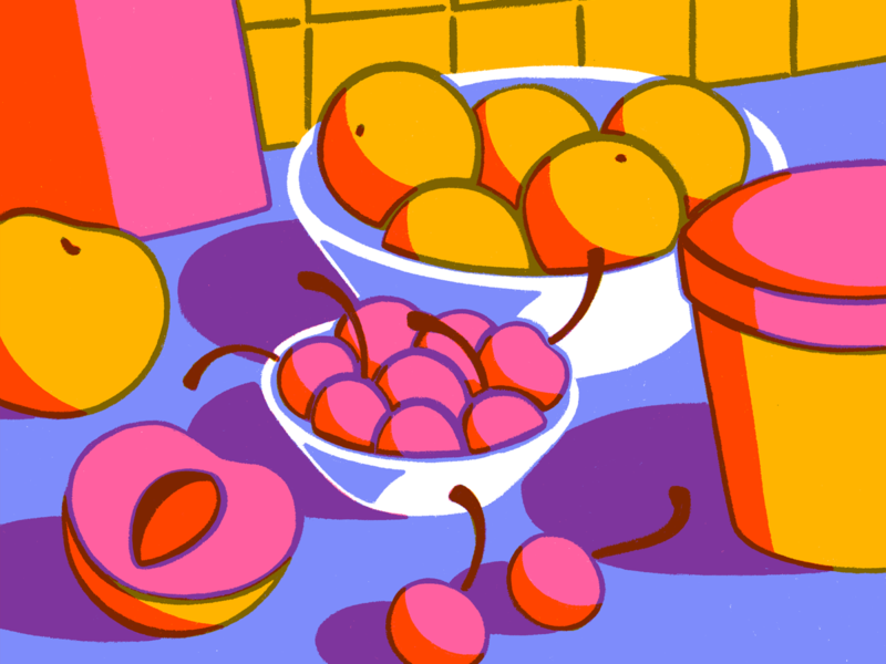 Time for dessert still life peaches oranges cherries fruit procreate illustration