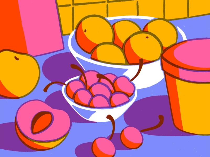 Time for dessert still life peaches oranges cherries fruit procreate illustration