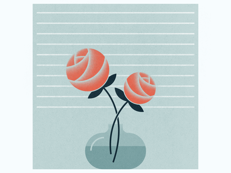Two Roses illustration window vase flowers rose