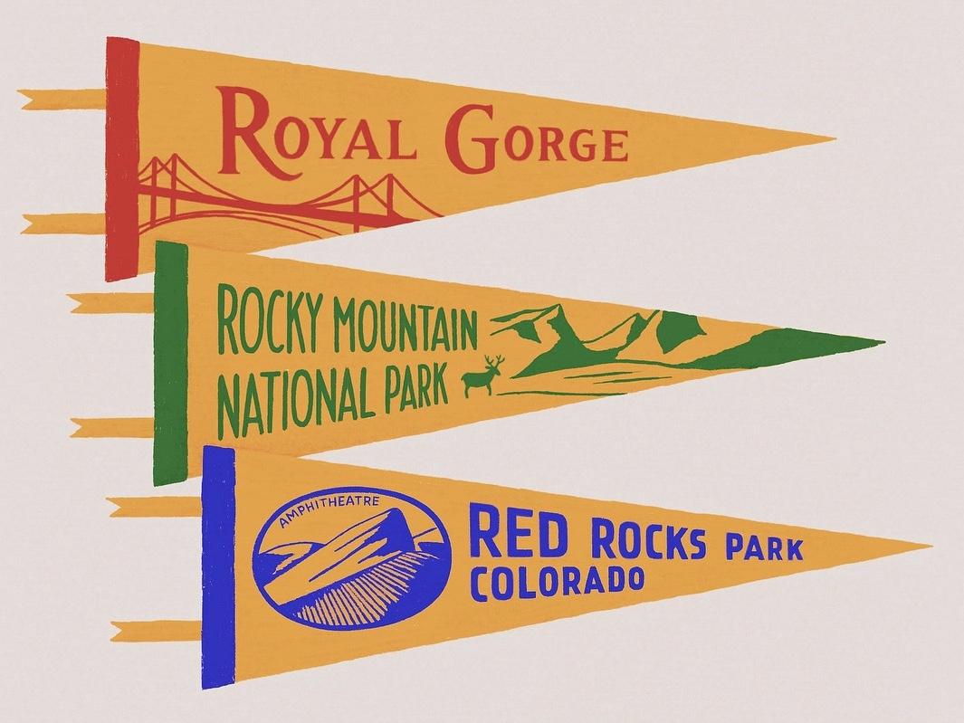 Colorado Pennant Flags procreate travel pennant flags pennant typography bridge parks colorado