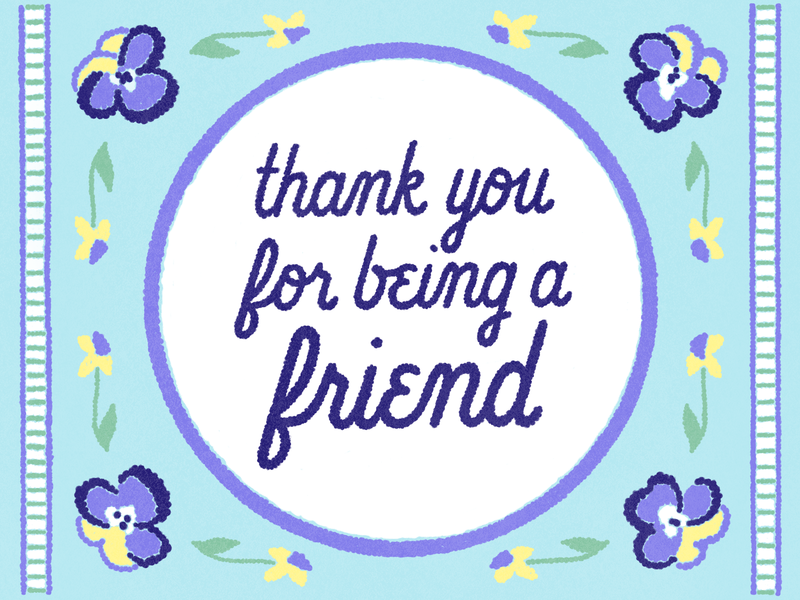 Thank You embroidered friend flowers pansies illustration thank you lettering