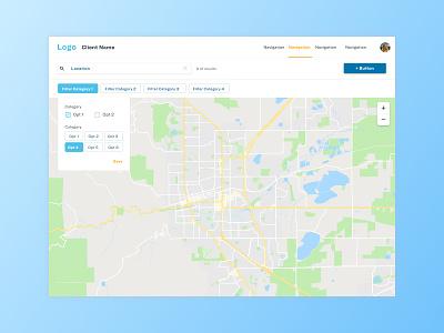 UI Exploration for Web App material ui map ui design user interface