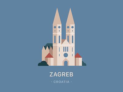 Zagreb cathedral adobe illustrator flat vector flatvector illustrator illustration vektor croatia zagreb