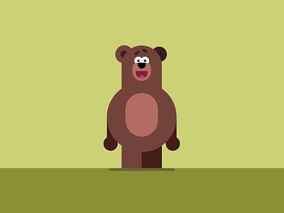Bear happy illustration animal bear character vector flat illustration illustrator flatvector flat vector detail