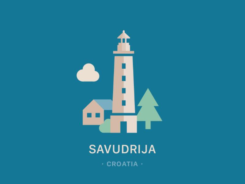 Savudrija Lighthouse vector illustration adobe illustrator vector skyline savudrija istria illustration flat vector croatia city badge