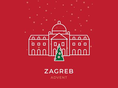 Zagreb Advent skyline city illustration city badge adobe advent croatia zagreb flat illustration vector flat vector flat detail christmas adobe illustrator