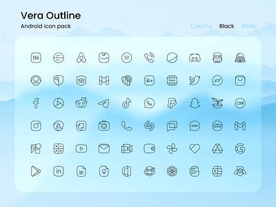 Vera Outline Black logo ui illustration app android icon set icon pack icon design icons design