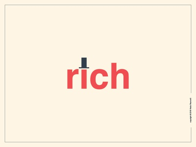Rich Logotype clever simple smart expressive typography word as image rich graphic design type flat wordmark logotype logo