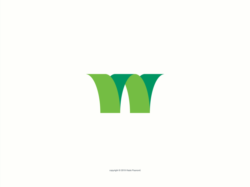 """W"" Logo branding flat vector simple design logo green w letter renewable energy energy turbine wind power wind"