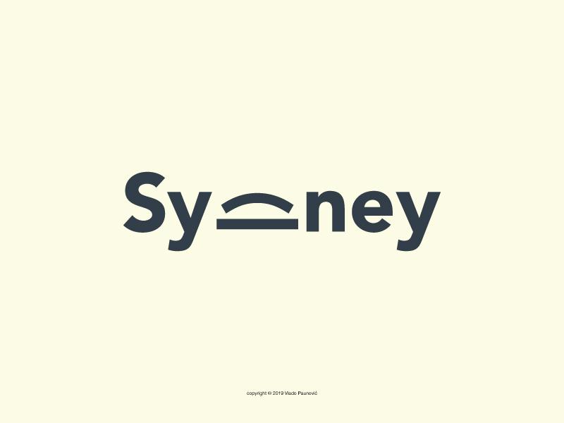 Sydney Logotype flat expressive typography calligram graphic design word clever design logo minimal expressive typography smart simple vector harbour bridge wordmark logotype sydney