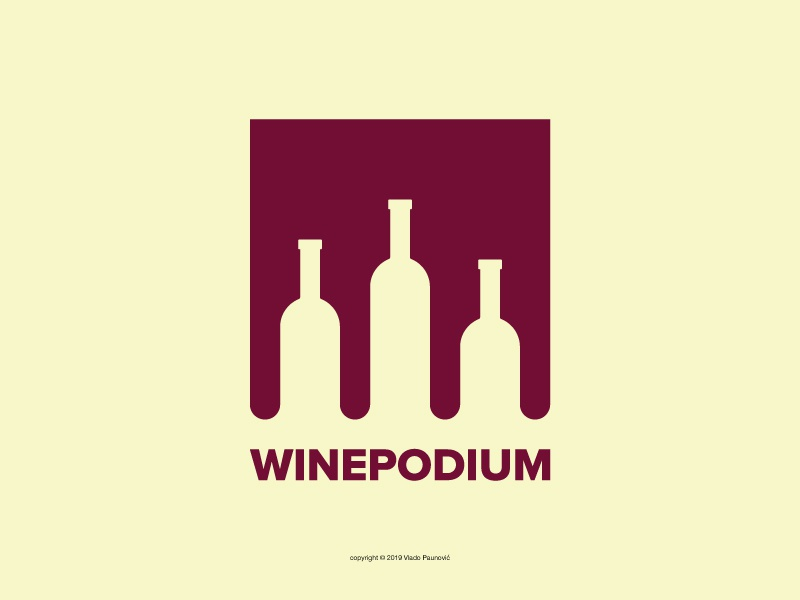 WinePodium Logo simple branding graphic design design vector flat winners wine making negative space ruby red logo oenology award medal champion winner competition winery wine podium