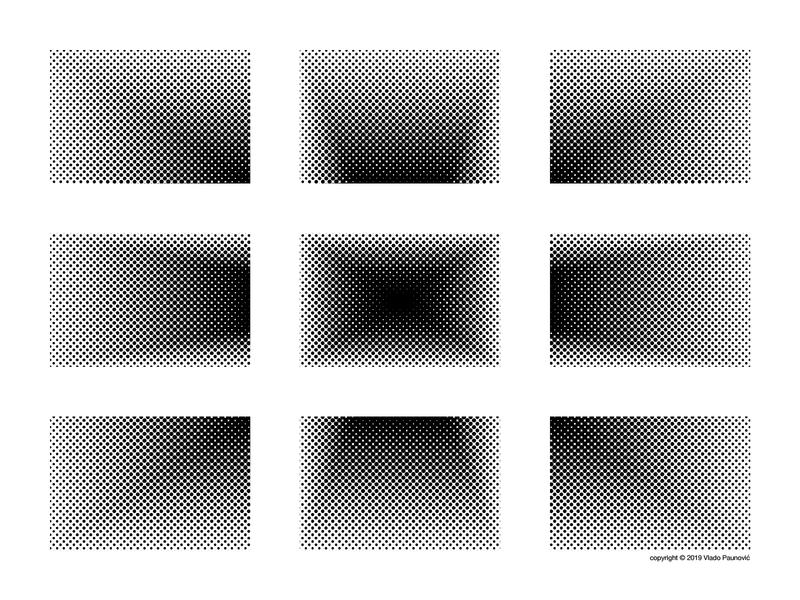Halftone Rectangles hashtag grid 3d flat poster art density graphic design geometric art geometry illustrator illusion op art design illustration rectangle nine black and white dots halftone perspective