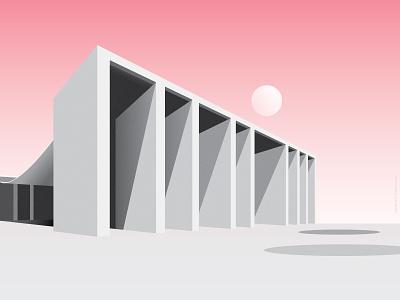 Siza Pavilion vector design minimal print illustration lisbon portugal architecture modern alvaro siza