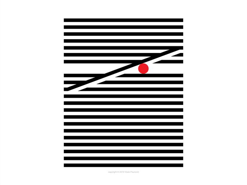 Stuck Ball minimal artwork print poster adobe illustrator geometric lines parallel illustration vector design flat
