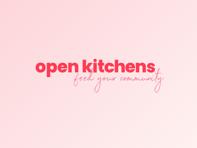 Open Kitchens UK Brand red coral pink hand drawn script sans serif sanserif not for profit restaurant kitchen covid-19 covid19 coronavirus charity logo branding brand