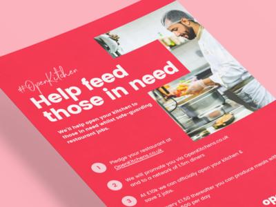 Open Kitchens Print Flyer food script hand drawn sans serif sanserif restaurants red coral pink flyer artwork flyer design print flyer