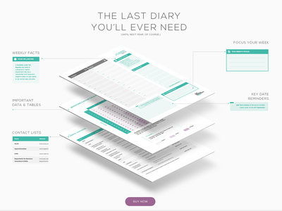 Diary Product Website Section flat call to action feature features isometric iso purple green diary website web