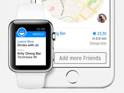 Midddle App on Apple Watch & iPhone 6 ui ux apple watch iphone app watch wearable