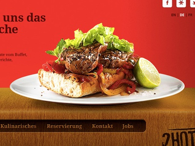 2HOT Steakhouse. corporate design website interface food