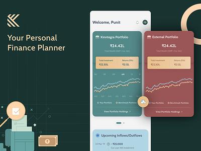 Personal Finance Planner - Kinntegra investment mutual funds fintech branding finances fintech app finance app premium planner fintech finance vector sketch design ui user interface
