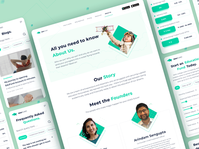 India's first investment advisory app - Edufund blog about us home screen pricing page management finances learning fund education landing page dashboard ux planning fintech edtech website design sketch procreator ui
