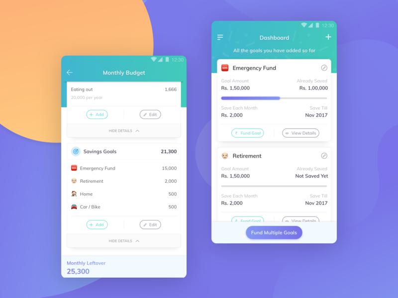 EasyPlan - User Interface Design dashboard money finance budget button mobile typography vector ux gradient design ui user interface sketch procreator