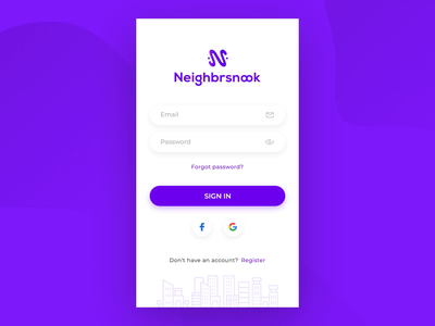 Neighbrsnook - Sign In Page social login email support interaction neighbors skyline typography branding animation vector ux onboarding sign in mobile gradient ui design user interface sketch procreator
