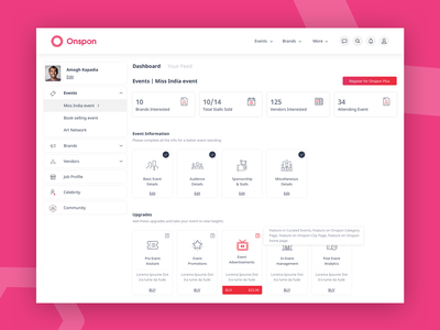Dashboard UI - Onspon button branding logo icons icon typography dribbble managing manage event vector ux ui design dashboard user interface sketch procreator