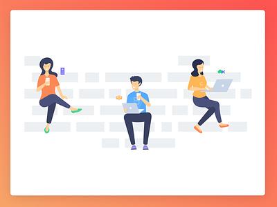 Illustrations - Programming Hub laptop mobile coding programming character design characters illustrations vector drawing gradient illustration design ui sketch procreator