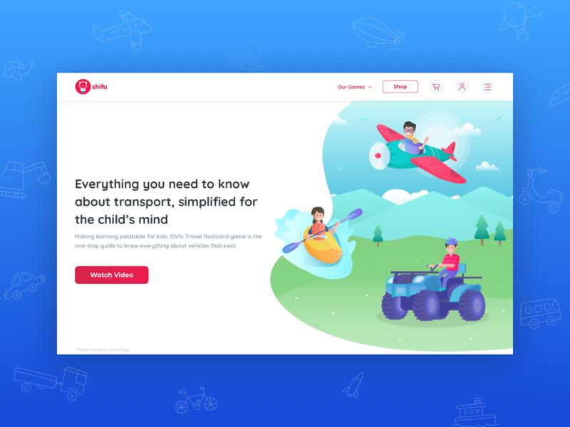 Shifu Travel - Landing Page website branding illustrations travel education character design characters vector ux children gradient illustration ui design user interface sketch procreator