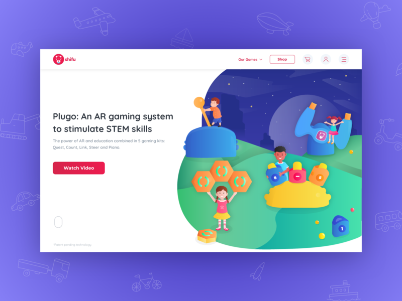 Shifu Plugo - Landing Page kids gaming augmented reality stem children learning landing page website character design characters vector ux illustrations illustration gradient design ui user interface sketch procreator