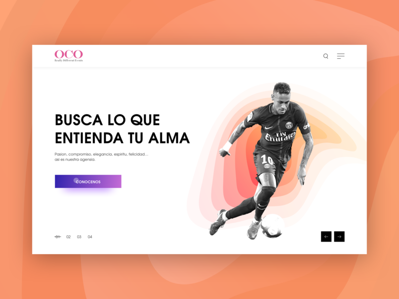 Oco Events Landing Page soccer game sports ux branding spanish website spanish spain event football gradient user interface design ui sketch procreator