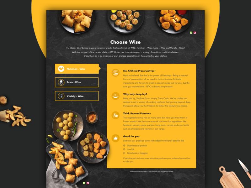 Snacks Section - ITC Master Chef website web typography vector ux dark ui gradient logo branding recipe chef foodie food ui design user interface sketch procreator