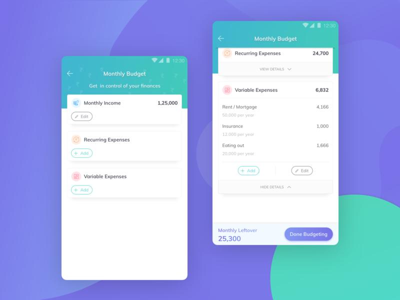 User Interface Design - EasyPlan budget finance app mobile ux gradient ui design user interface sketch procreator