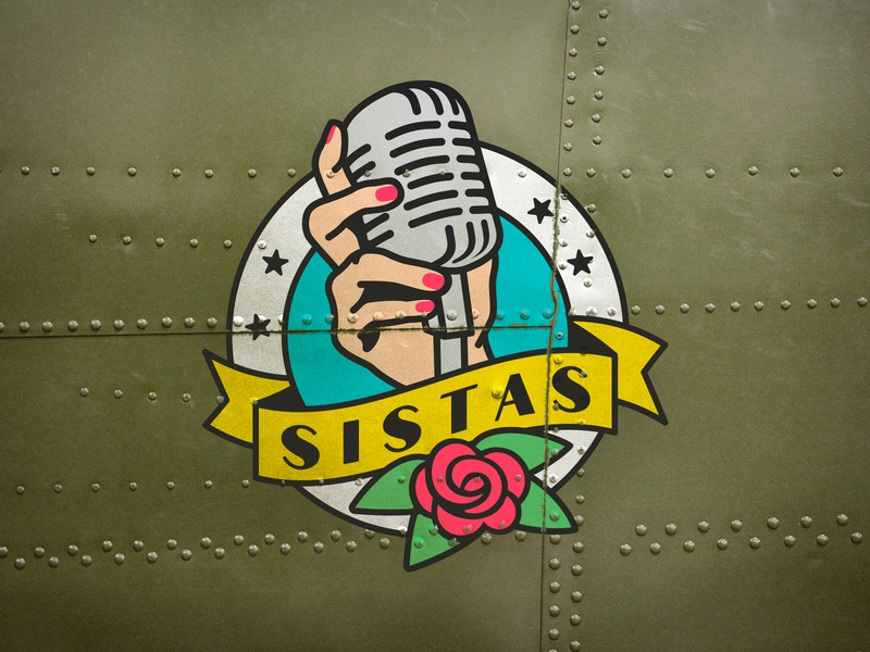 Sistas musician argentina old vintage rose hand microphone singers wwii airplane band girls pinup logo illustration music