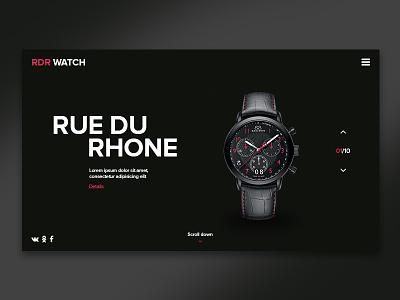 RUE DU RHONE web ui chronometer site landing page clock