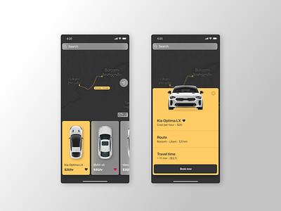 Car rent app cab booking carrent rent car application design web interface app ux ui